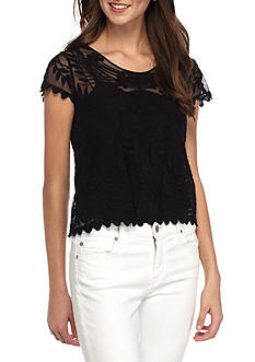 Say What Short Sleeve Allover Lace Top