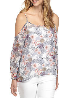 Say What Cold Shoulder Floral Blouse