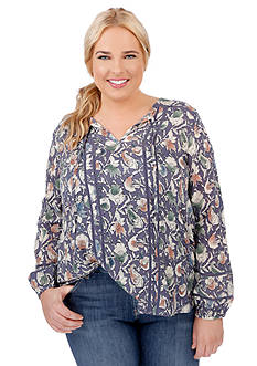 Lucky Brand Plus Size Painted Floral Top