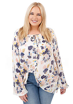 Lucky Brand Plus Size Floral Print Top