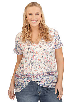 Lucky Brand Plus Size Border Printed Blouse