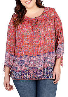 Lucky Brand Plus Size Tapestry Print Top