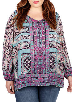Lucky Brand Plus Size Moroccan Border Blouse