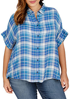 Lucky Brand Plus Size Short Sleeve Plaid Top