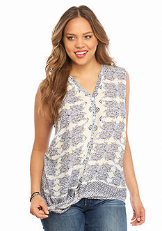 Lucky Brand Plus Size Geo Tie Front Top