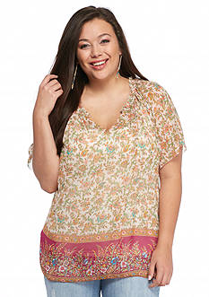 Lucky Brand Plus Size Floral Border Blouse