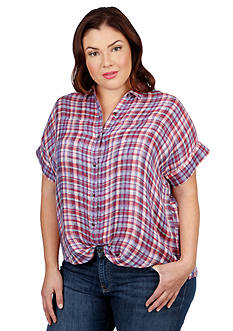 Lucky Brand Plus Size Americana Plaid Top
