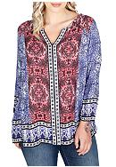 Lucky Brand Plus Size Long Sleeve With Border