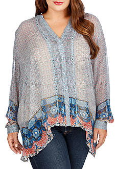 Lucky Brand Plus Size Sheer Button Down Blouse
