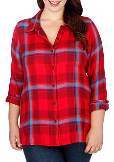 Lucky Brand Plus Size Plaid Button Down Shirt