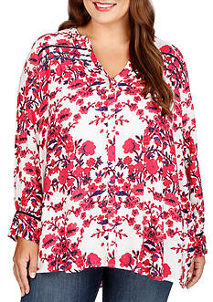 Lucky Brand Plus Size Vintage Print Top