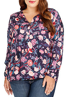 Lucky Brand Plus Size Tassel Floral Blouse