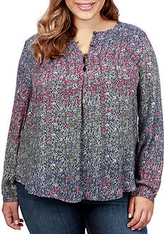 Lucky Brand Plus Size Pin-Tuck Peasant Top