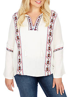 Lucky Brand Plus Size Embroidered Popover Top