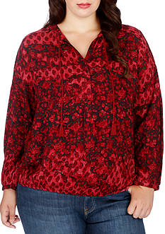 Lucky Brand Plus Size Floral Peasant Blouse