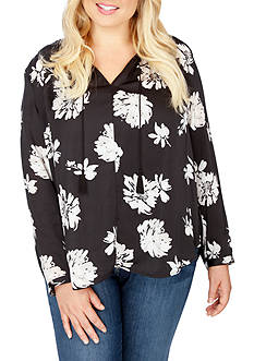 Lucky Brand Plus Size Tassel Tie Neck Blouse