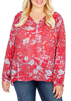 Lucky Brand Plus Size Floral Fringe Neck Blouse