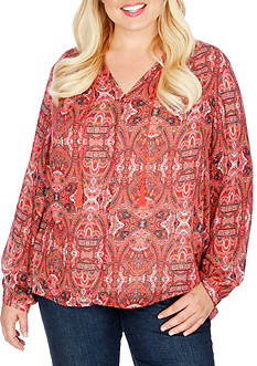 Lucky Brand Plus Size Paisley Print Blouse