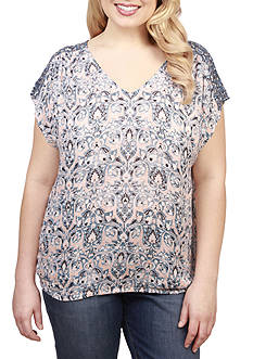 Lucky Brand Plus Size V-Neck Blouse