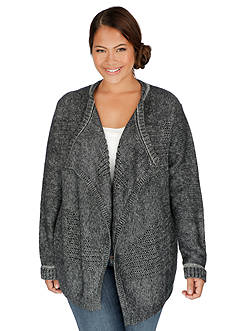 Lucky Brand Plus Size Mix Mesh Cardigan