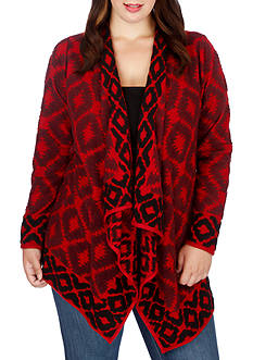 Lucky Brand Plus Size Aztec Open Sweater