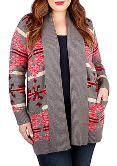 Lucky Brand Plus Size Intarsia Sweater Coat