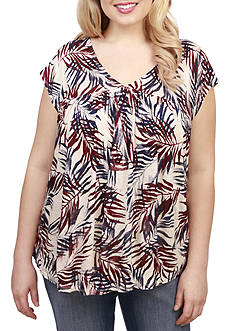 Lucky Brand Plus Size Palm Leaf Blouse