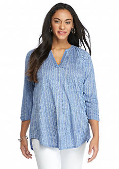 Lucky Brand Plus Size Printed Stripe Top