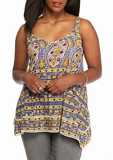 Lucky Brand Plus Size Woodblock Tank