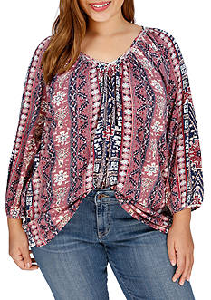 Lucky Brand Plus Size Tribal Printed Top