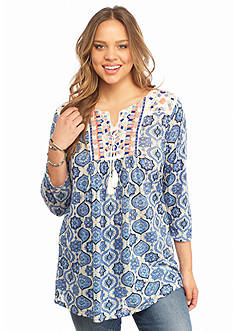 Lucky Brand Plus Size Embroidered Printed Top