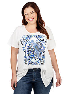 Lucky Brand Plus Size Embroidered Bird Top