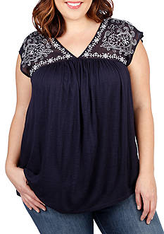 Lucky Brand Plus Size Sheer Yoke Embroidered Top