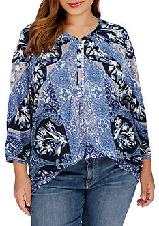 Lucky Brand Plus Size Morrocan Mixed Top