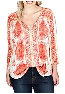 Lucky Brand Plus Size Placed Print Top