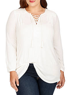 Lucky Brand Plus Size Lace-Up Peasant Blouse