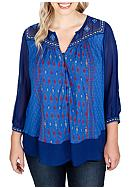 Lucky Brand Plus Size Border Print Top
