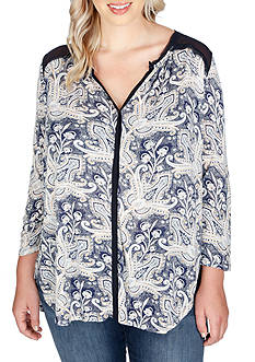 Lucky Brand Plus Size Printed Woven Mix Top