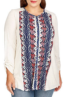 Lucky Brand Plus Size Printed Button Down Top