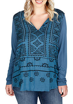 Lucky Brand Plus Size Embroidered Top