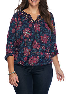 Lucky Brand Plus Size Floral Knit Top