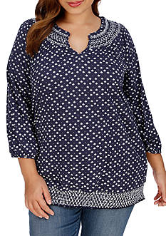 Lucky Brand Plus Size Ditsy Geo Top