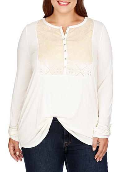 Lucky Brand Plus Size Burnout Velvet Bib Top