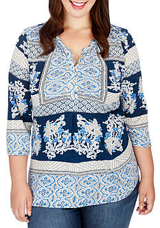 Lucky Brand Plus Size Printed Knit Top