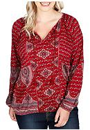 Lucky Brand Plus Size Tassel Printed Top