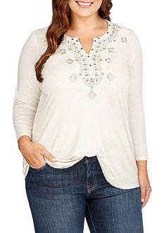 Lucky Brand Plus Size Embroidered Bib Top