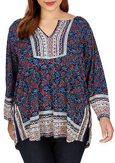 Lucky Brand Plus Size Black Floral Top