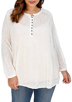 Lucky Brand Plus Size Novelty Mixed Knit Top