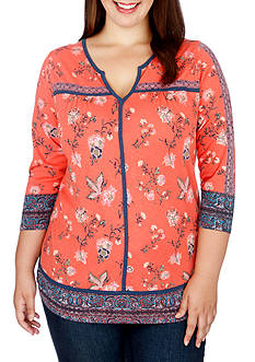 Lucky Brand Plus Size Floral Border Top