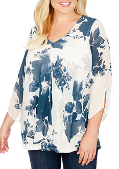 Lucky Brand Plus Size Open Floral Printed Top